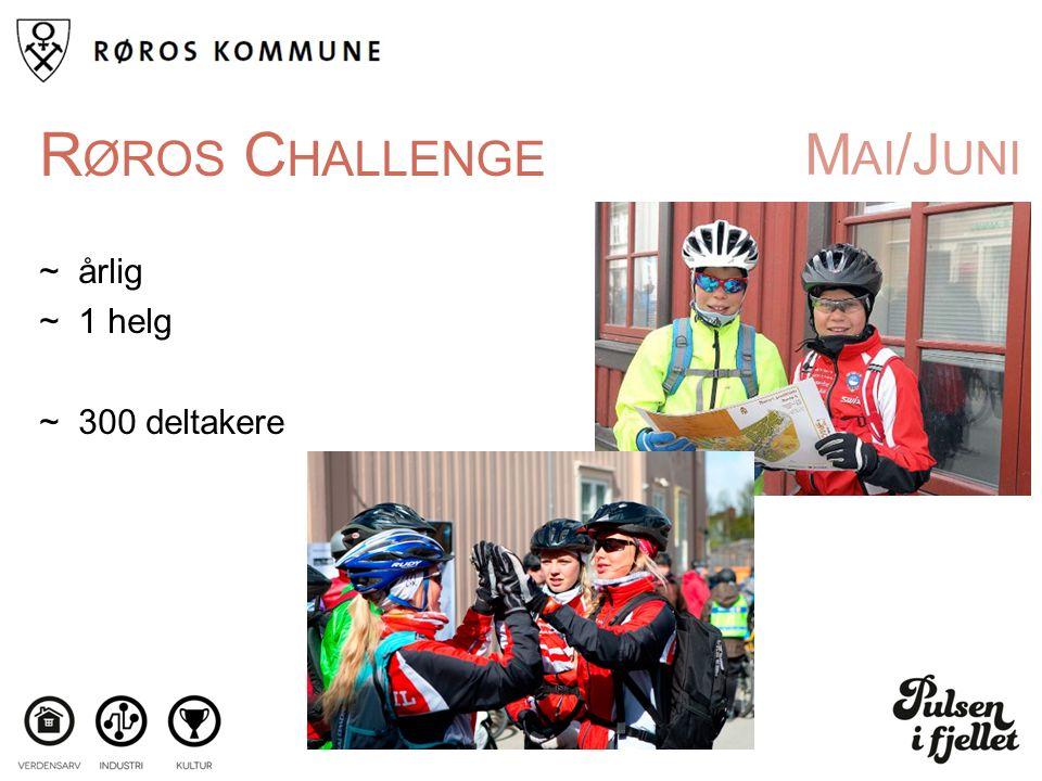 M AI /J UNI R ØROS C HALLENGE ~årlig ~1 helg ~300 deltakere
