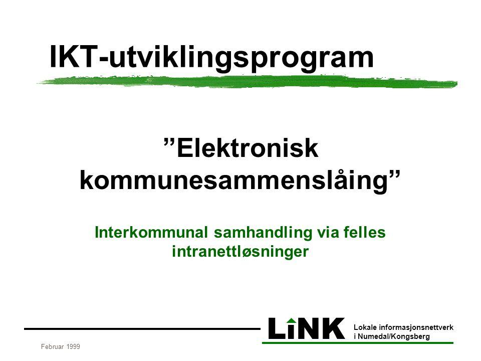 LiNK Lokale informasjonsnettverk i Numedal/Kongsberg Februar 1999 IKT-utviklingsprogram Elektronisk kommunesammenslåing Interkommunal samhandling via felles intranettløsninger