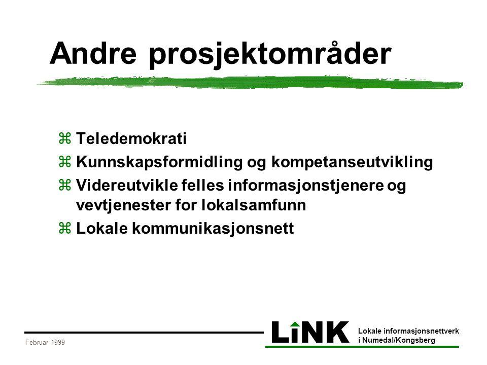 LiNK Lokale informasjonsnettverk i Numedal/Kongsberg Februar 1999 Andre prosjektområder  Teledemokrati  Kunnskapsformidling og kompetanseutvikling  Videreutvikle felles informasjonstjenere og vevtjenester for lokalsamfunn  Lokale kommunikasjonsnett