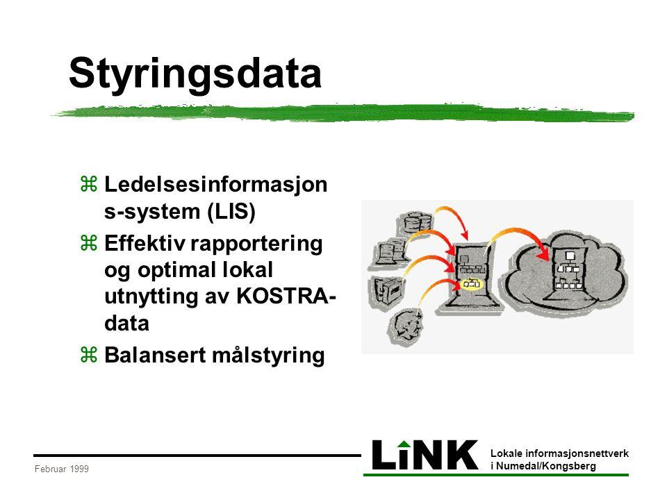LiNK Lokale informasjonsnettverk i Numedal/Kongsberg Februar 1999 Styringsdata  Ledelsesinformasjon s-system (LIS)  Effektiv rapportering og optimal lokal utnytting av KOSTRA- data  Balansert målstyring