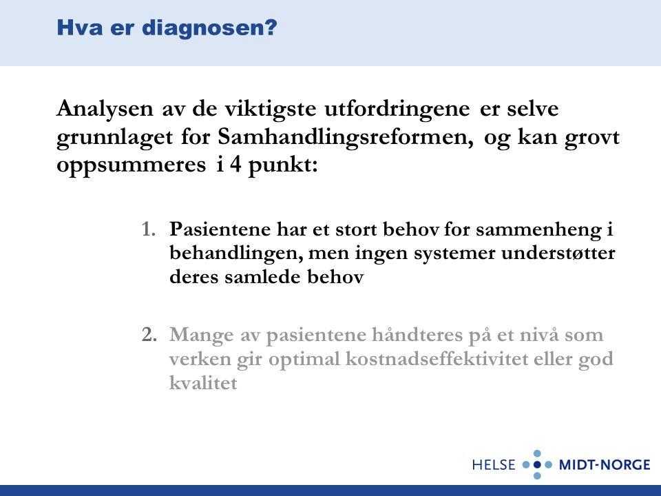 Hva er diagnosen? Analysen av de viktigste utfordringene er selve grunnlaget for Samhandlingsreformen, og kan grovt oppsummeres i 4 punkt: 1.Pasienten