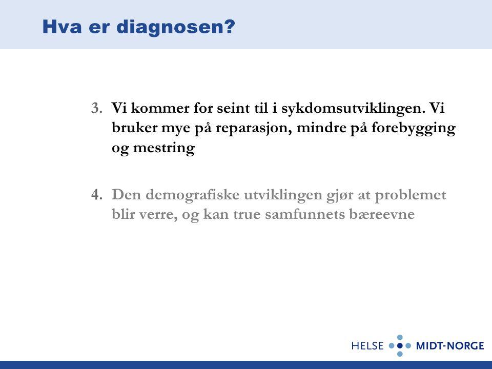Hva er diagnosen? 3.Vi kommer for seint til i sykdomsutviklingen. Vi bruker mye på reparasjon, mindre på forebygging og mestring 4.Den demografiske ut