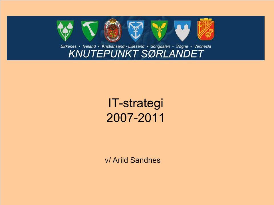 Strategihierarki IT Nasjonale mål (eNorge) Nasjonale mål for kommunesektoren (eKommune 2006- 2009) Regionale mål (Knutepunkt Sørlandet) Lokale mål (den enkelte kommune i Knutepunkt Sørlandet)