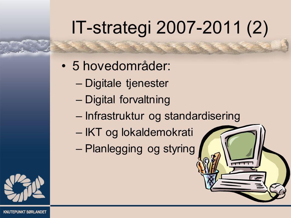 IT-strategi 2007-2011 (2) 5 hovedområder: –Digitale tjenester –Digital forvaltning –Infrastruktur og standardisering –IKT og lokaldemokrati –Planlegging og styring