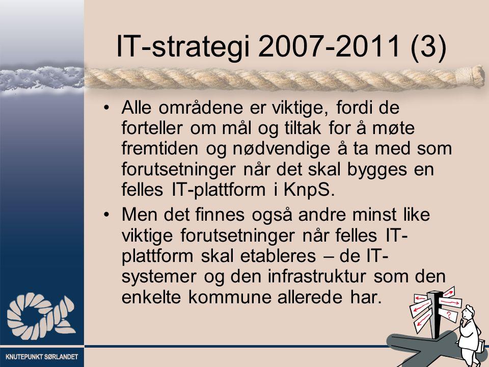 IT-strategi 2007-2011 (3) Alle områdene er viktige, fordi de forteller om mål og tiltak for å møte fremtiden og nødvendige å ta med som forutsetninger når det skal bygges en felles IT-plattform i KnpS.