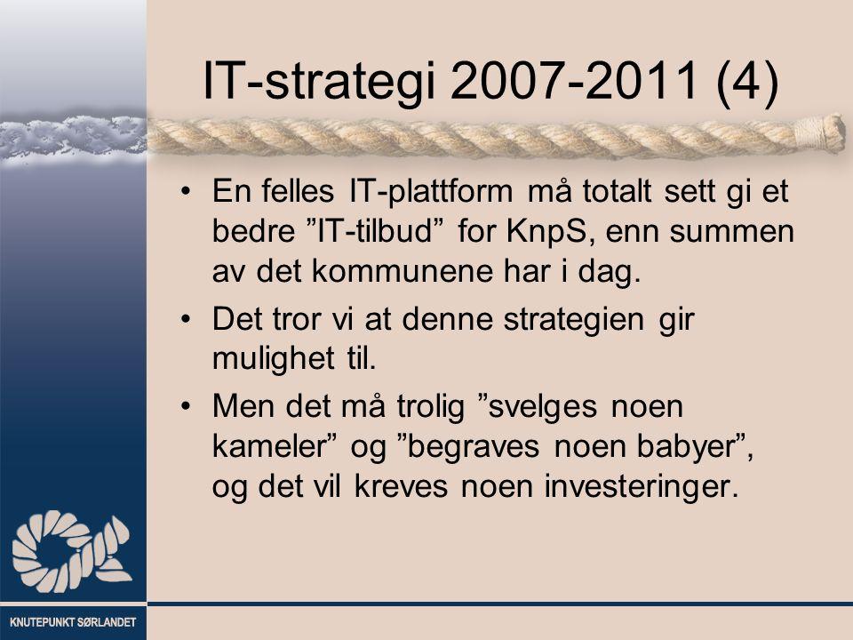 """IT-strategi 2007-2011 (4) En felles IT-plattform må totalt sett gi et bedre """"IT-tilbud"""" for KnpS, enn summen av det kommunene har i dag. Det tror vi a"""