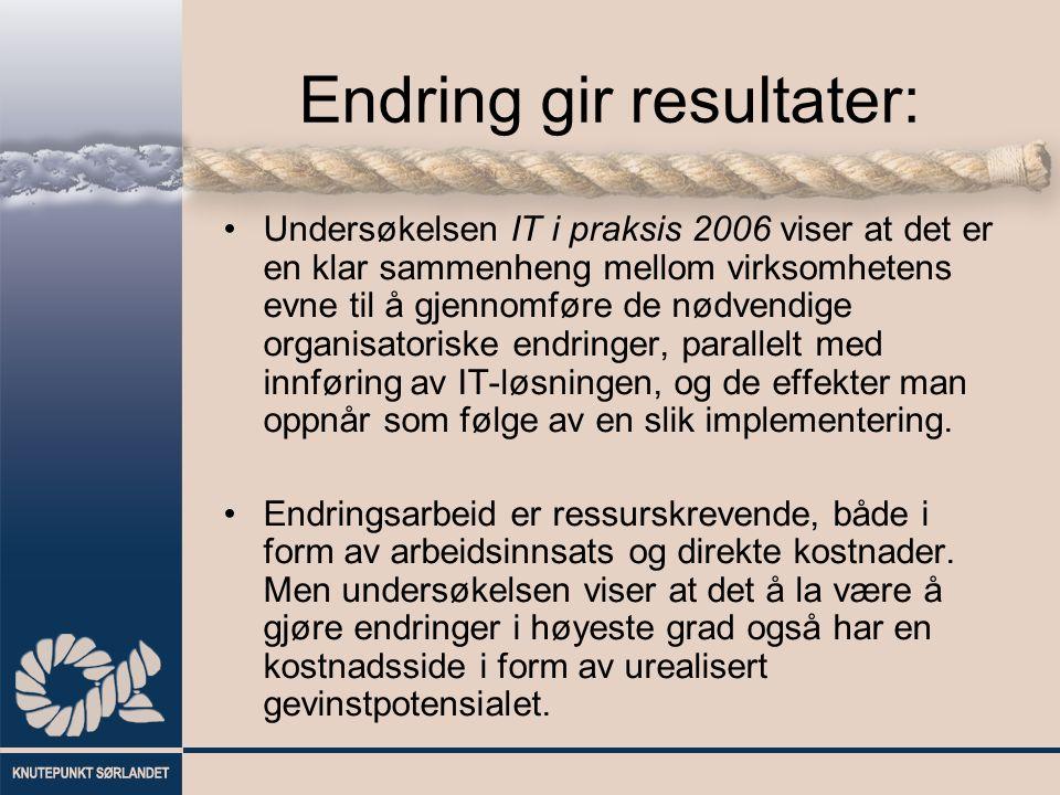 Endring gir resultater: Undersøkelsen IT i praksis 2006 viser at det er en klar sammenheng mellom virksomhetens evne til å gjennomføre de nødvendige o