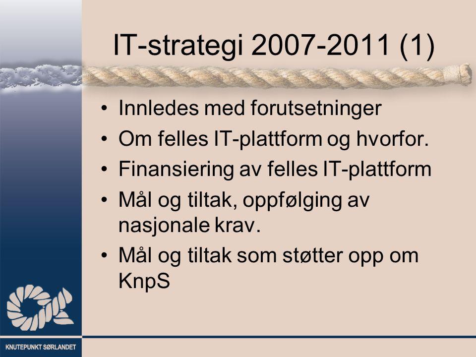 IT-strategi 2007-2011 (1) Innledes med forutsetninger Om felles IT-plattform og hvorfor. Finansiering av felles IT-plattform Mål og tiltak, oppfølging