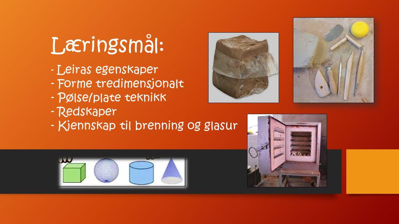 Læringsmål: - Leiras egenskaper - Forme tredimensjonalt - Pølse/plate teknikk - Redskaper - Kjennskap til brenning og glasur