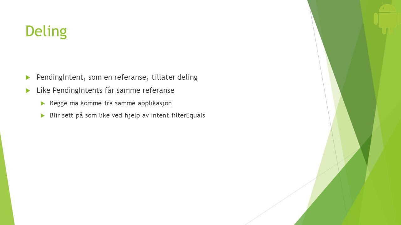 Deling  PendingIntent, som en referanse, tillater deling  Like PendingIntents får samme referanse  Begge må komme fra samme applikasjon  Blir sett