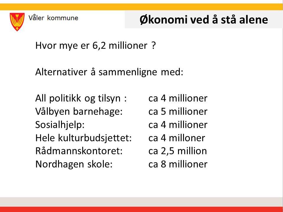 Økonomi ved å stå alene Hvor mye er 6,2 millioner .