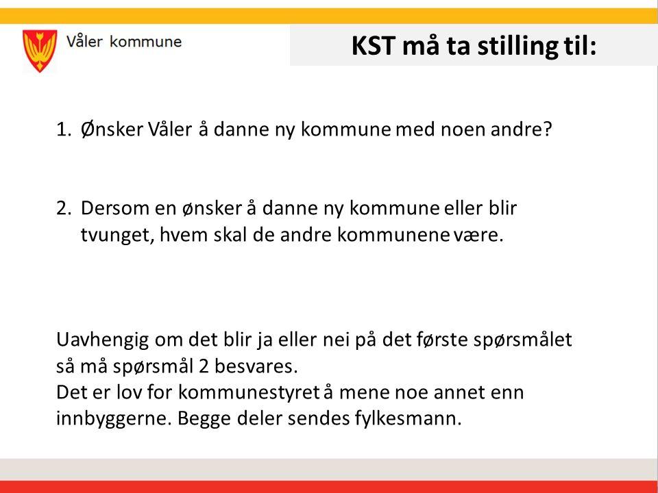 KST må ta stilling til: 1.Ønsker Våler å danne ny kommune med noen andre.
