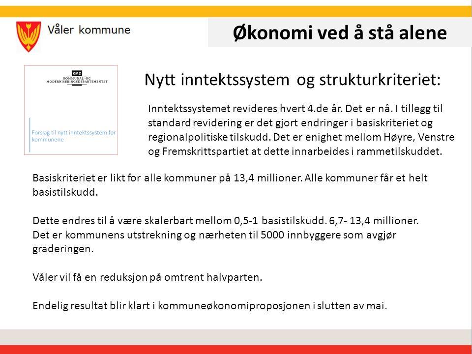 Økonomi ved å stå alene Nytt inntektssystem og strukturkriteriet: Inntektssystemet revideres hvert 4.de år.