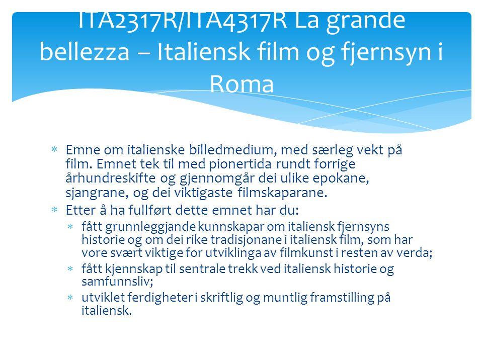  Emne om italienske billedmedium, med særleg vekt på film.