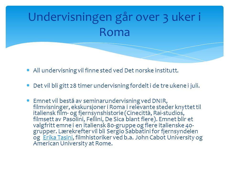 All undervisning vil finne sted ved Det norske institutt.