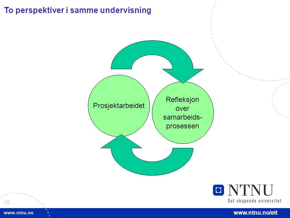 10 www.ntnu.no/eit To perspektiver i samme undervisning Refleksjon over samarbeids- prosessen Prosjektarbeidet