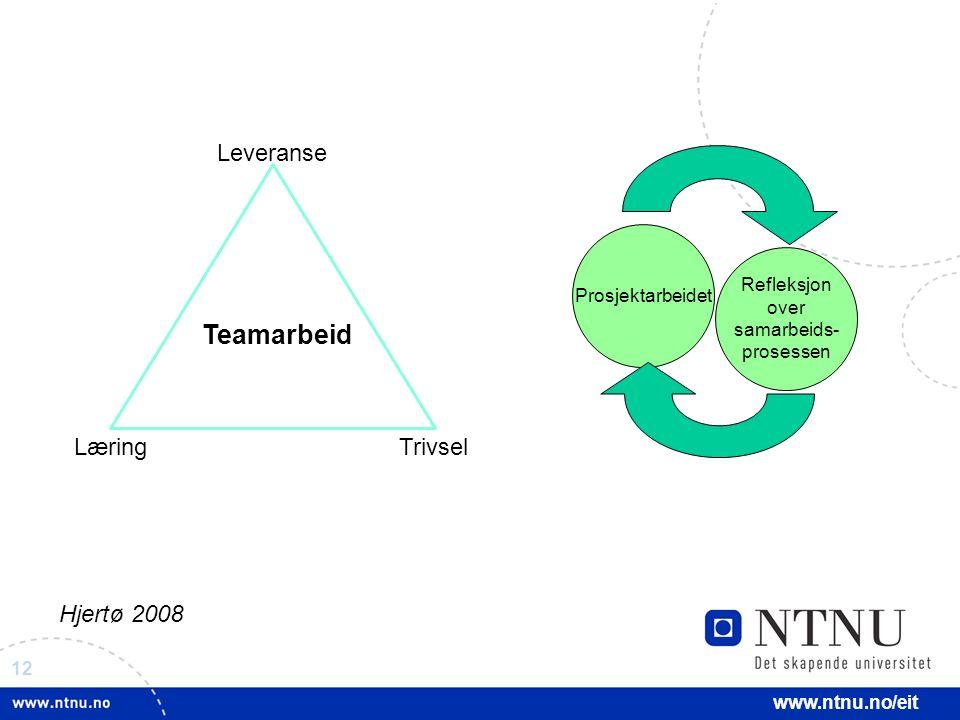 12 www.ntnu.no/eit Refleksjon over samarbeids- prosessen Prosjektarbeidet Teamarbeid LæringTrivsel Leveranse Hjertø 2008