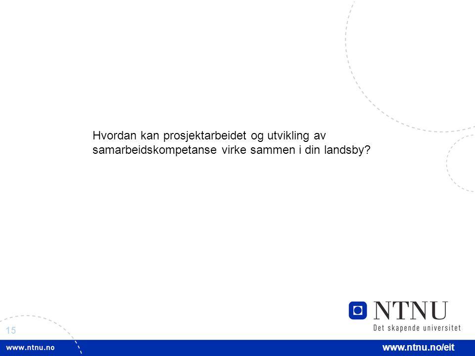 15 www.ntnu.no/eit Hvordan kan prosjektarbeidet og utvikling av samarbeidskompetanse virke sammen i din landsby?