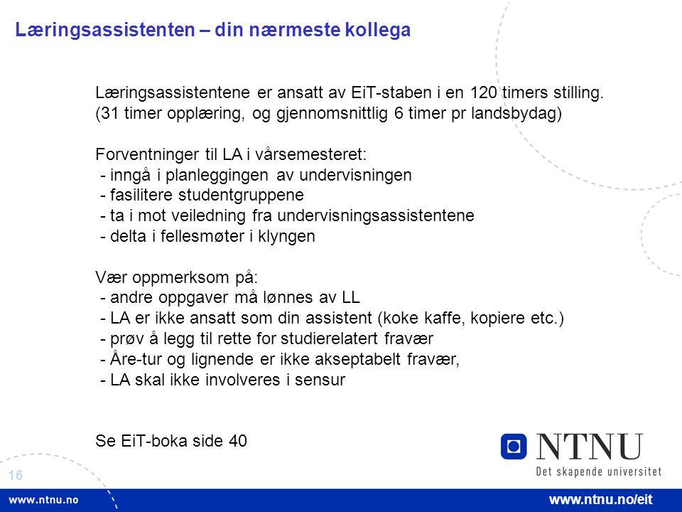 16 www.ntnu.no/eit Læringsassistenten – din nærmeste kollega Læringsassistentene er ansatt av EiT-staben i en 120 timers stilling. (31 timer opplæring