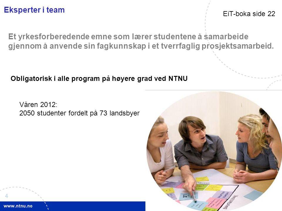 4 www.ntnu.no/eit Eksperter i team Et yrkesforberedende emne som lærer studentene å samarbeide gjennom å anvende sin fagkunnskap i et tverrfaglig prosjektsamarbeid.