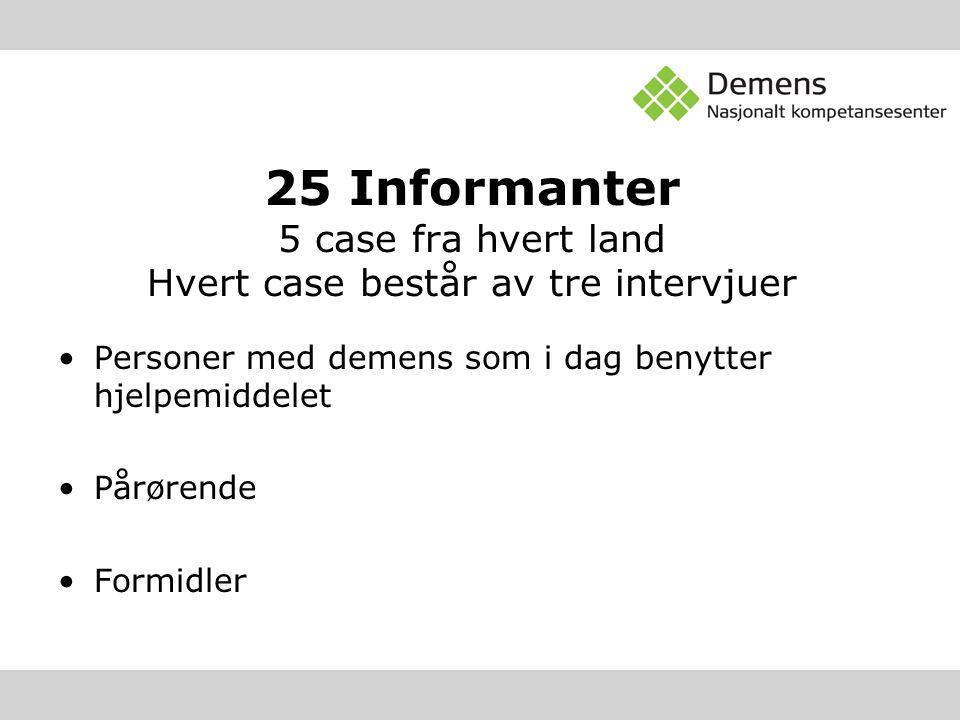 25 Informanter 5 case fra hvert land Hvert case består av tre intervjuer Personer med demens som i dag benytter hjelpemiddelet Pårørende Formidler