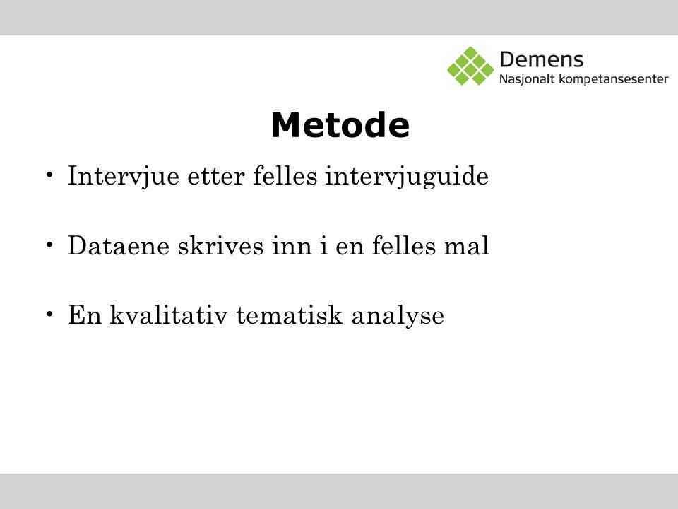 Metode Intervjue etter felles intervjuguide Dataene skrives inn i en felles mal En kvalitativ tematisk analyse