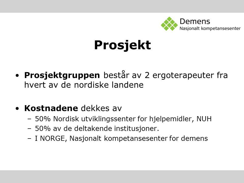 Prosjekt Prosjektgruppen består av 2 ergoterapeuter fra hvert av de nordiske landene Kostnadene dekkes av –50% Nordisk utviklingssenter for hjelpemidler, NUH –50% av de deltakende institusjoner.