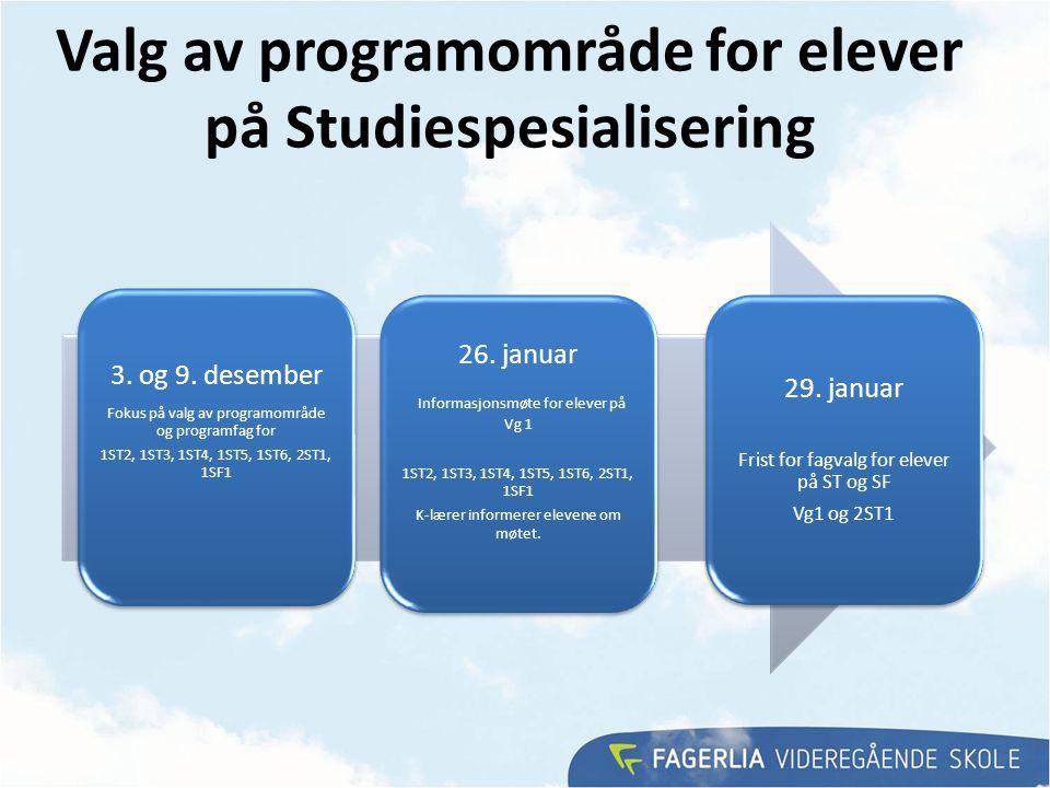Valg av programområde for elever på Studiespesialisering 26. januar Informasjonsmøte for elever på Vg 1 1ST2, 1ST3, 1ST4, 1ST5, 1ST6, 2ST1, 1SF1 K-lær