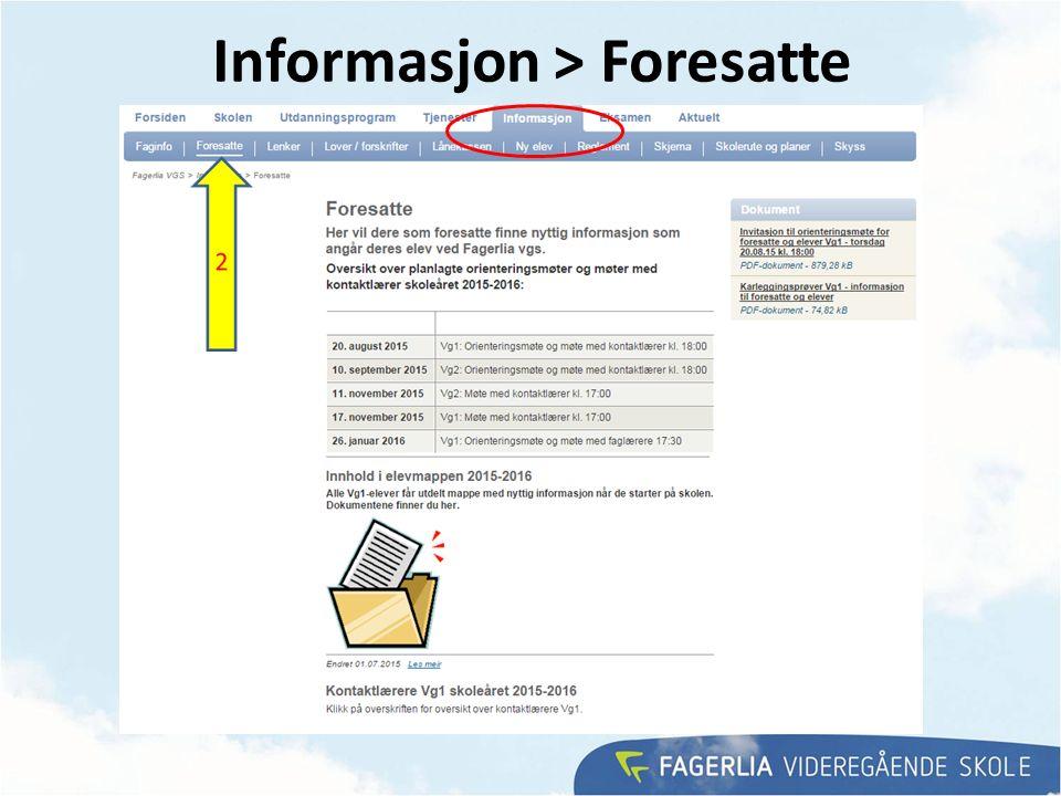 Informasjon > Foresatte