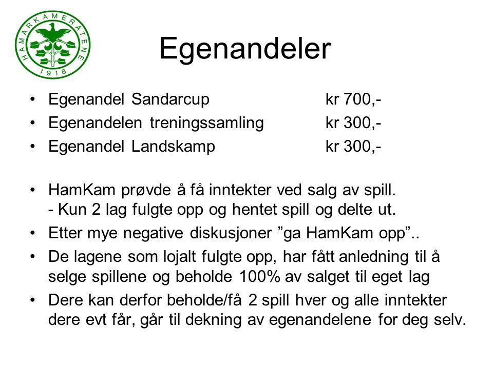 Egenandeler Egenandel Sandarcup kr 700,- Egenandelen treningssamlingkr 300,- Egenandel Landskamp kr 300,- HamKam prøvde å få inntekter ved salg av spill.
