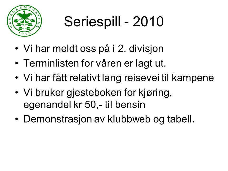 Seriespill - 2010 Vi har meldt oss på i 2. divisjon Terminlisten for våren er lagt ut.