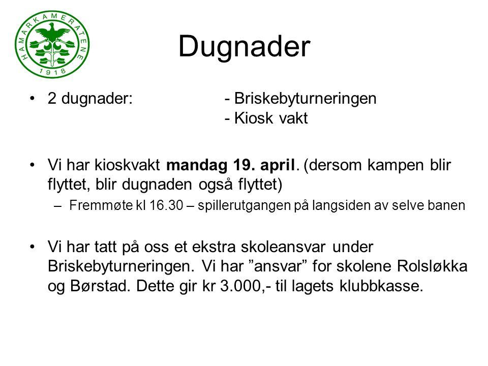 Dugnader 2 dugnader:- Briskebyturneringen - Kiosk vakt Vi har kioskvakt mandag 19.