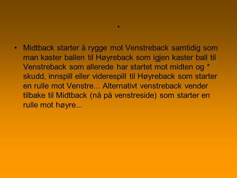 . Midtback starter å rygge mot Venstreback samtidig som man kaster ballen til Høyreback som igjen kaster ball til Venstreback som allerede har startet