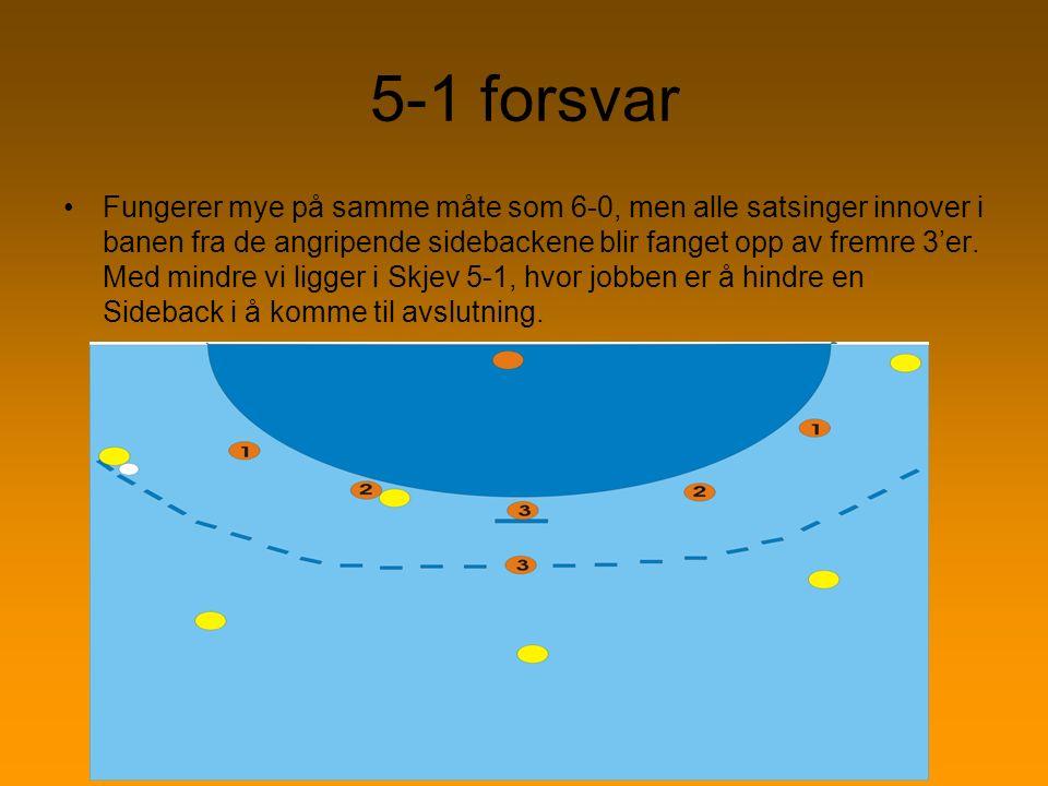5-1 forsvar Fungerer mye på samme måte som 6-0, men alle satsinger innover i banen fra de angripende sidebackene blir fanget opp av fremre 3'er. Med m