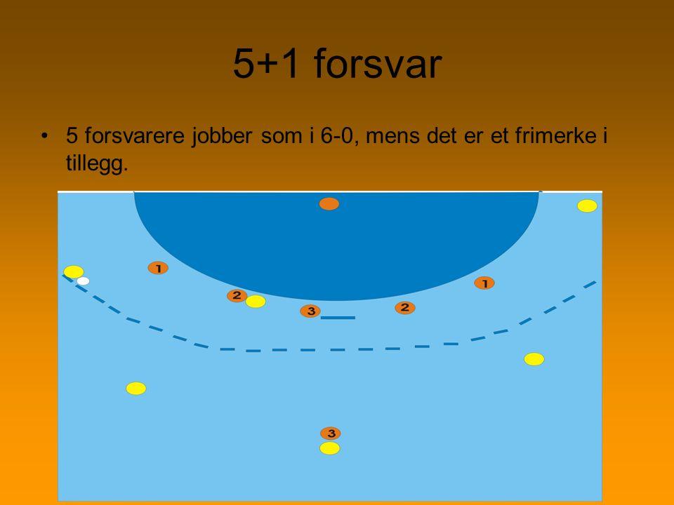 5+1 forsvar 5 forsvarere jobber som i 6-0, mens det er et frimerke i tillegg.
