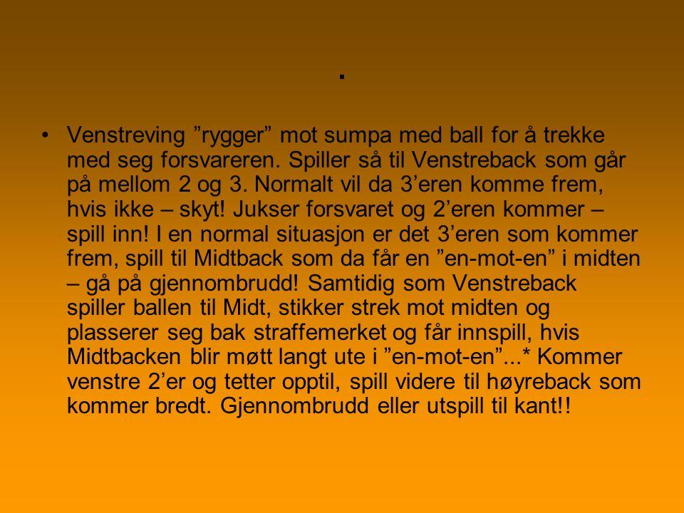 Midtback starter å rygge mot Venstreback samtidig som man kaster ballen til Høyreback som igjen kaster ball til Venstreback som allerede har startet mot midten og * skudd, innspill eller viderespill til Høyreback som starter en rulle mot Venstre...