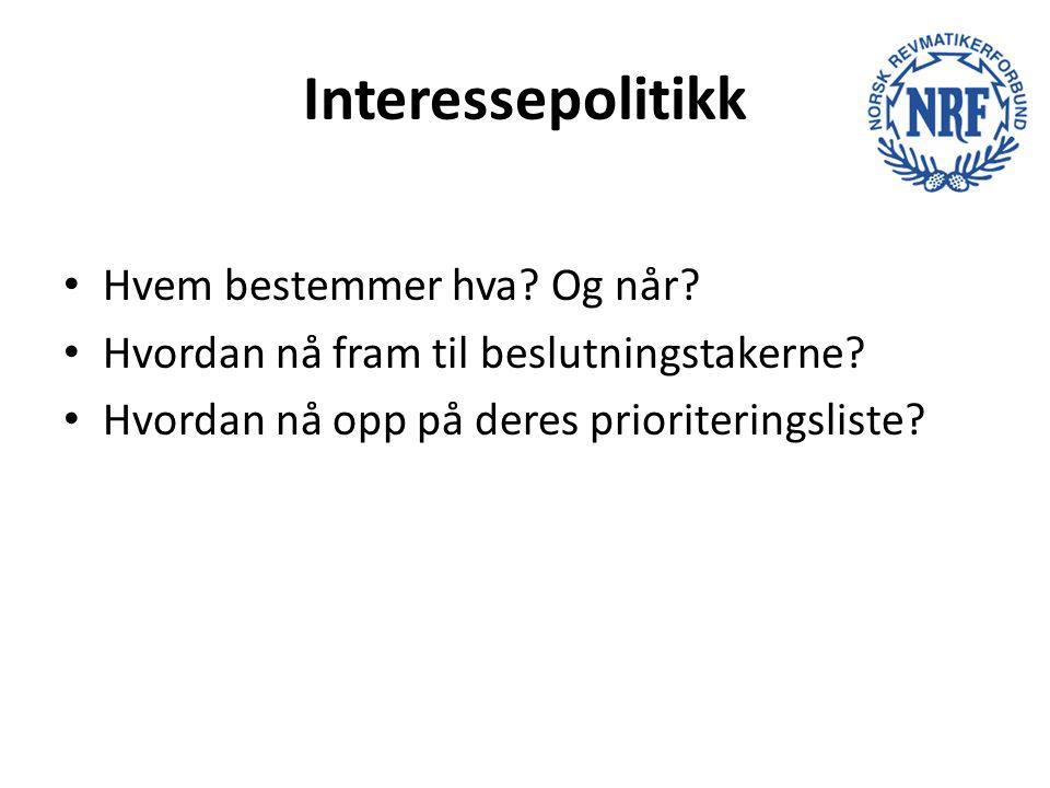 Interessepolitikk Hvem bestemmer hva? Og når? Hvordan nå fram til beslutningstakerne? Hvordan nå opp på deres prioriteringsliste?