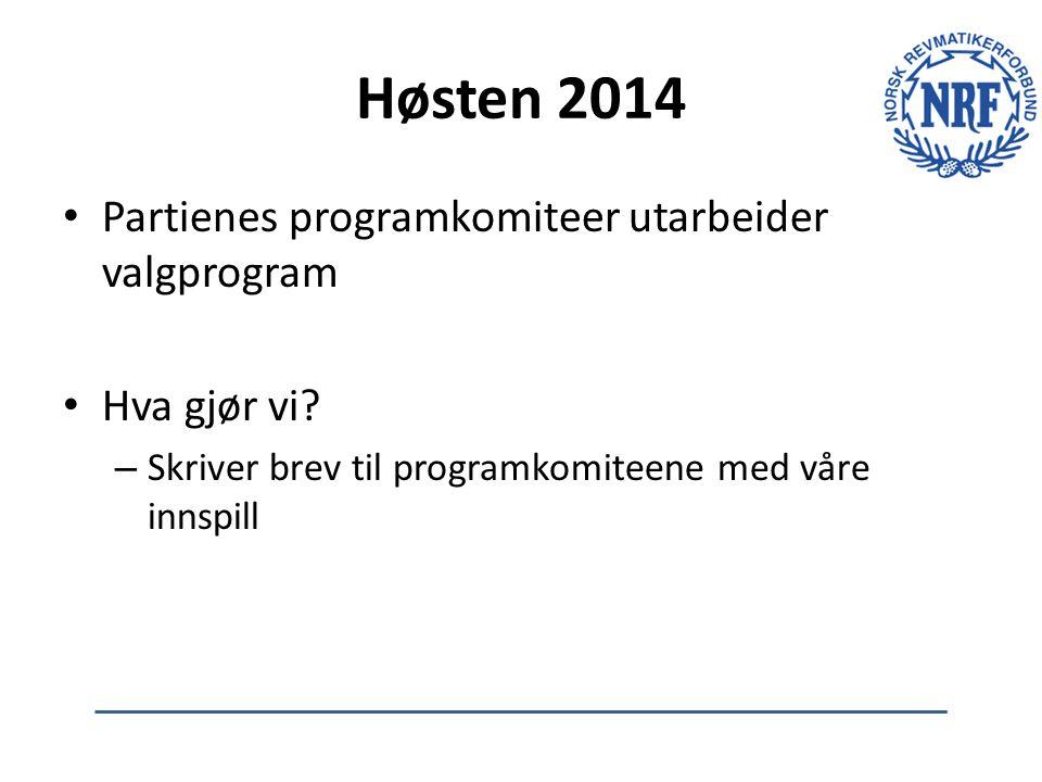 Høsten 2014 Partienes programkomiteer utarbeider valgprogram Hva gjør vi? – Skriver brev til programkomiteene med våre innspill