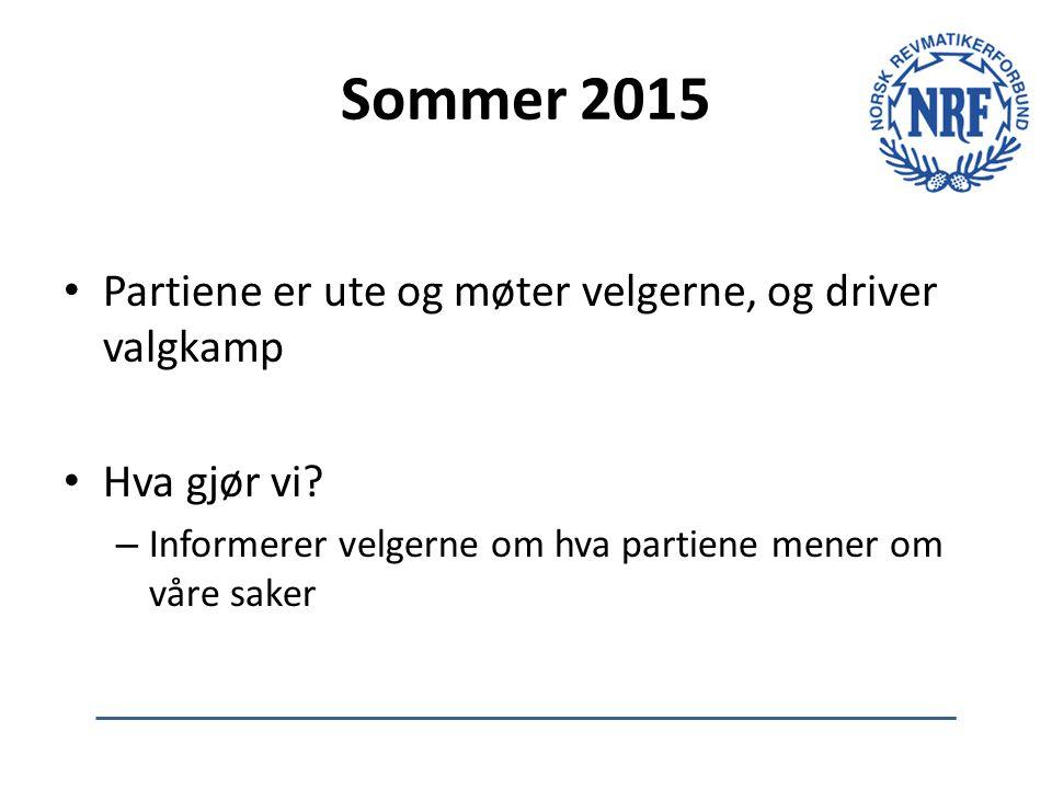 Sommer 2015 Partiene er ute og møter velgerne, og driver valgkamp Hva gjør vi? – Informerer velgerne om hva partiene mener om våre saker