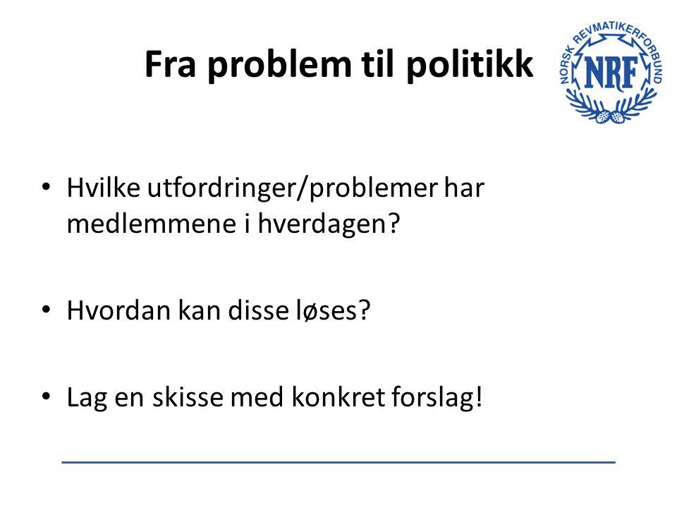 Fra problem til politikk Hvilke utfordringer/problemer har medlemmene i hverdagen? Hvordan kan disse løses? Lag en skisse med konkret forslag!
