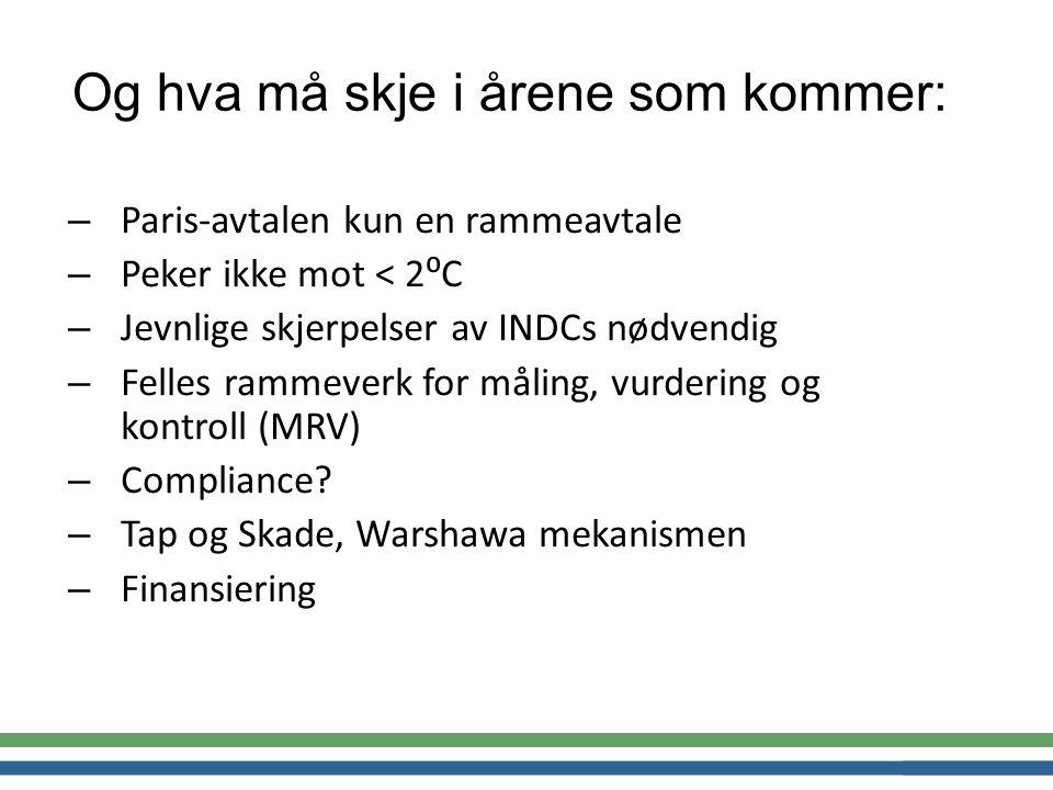 – Paris-avtalen kun en rammeavtale – Peker ikke mot < 2⁰C – Jevnlige skjerpelser av INDCs nødvendig – Felles rammeverk for måling, vurdering og kontroll (MRV) – Compliance.
