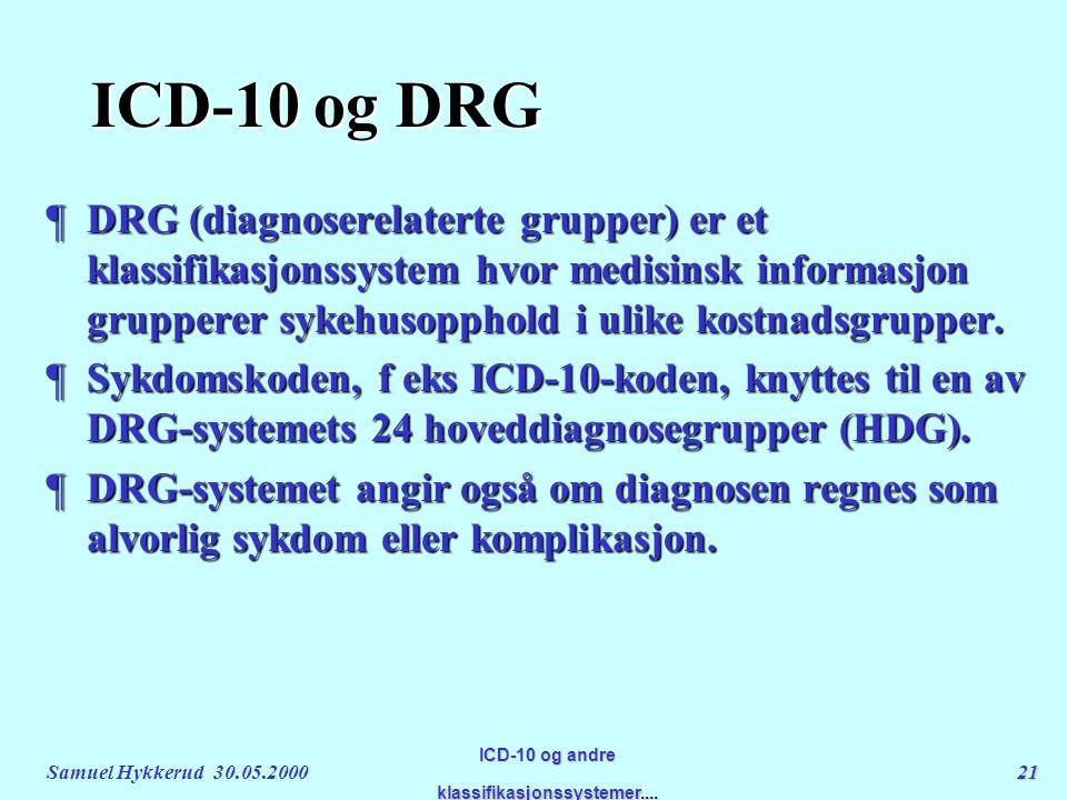 Samuel Hykkerud 30.05.200021 ICD-10 og andre klassifikasjonssystemer....