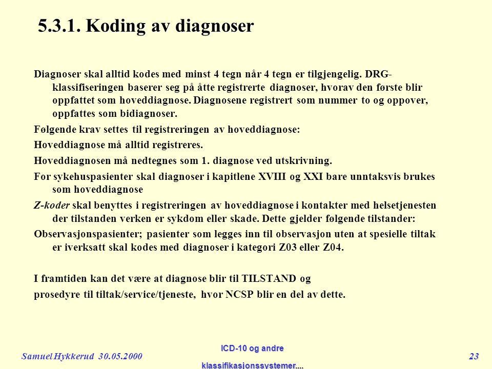 Samuel Hykkerud 30.05.200023 ICD-10 og andre klassifikasjonssystemer....