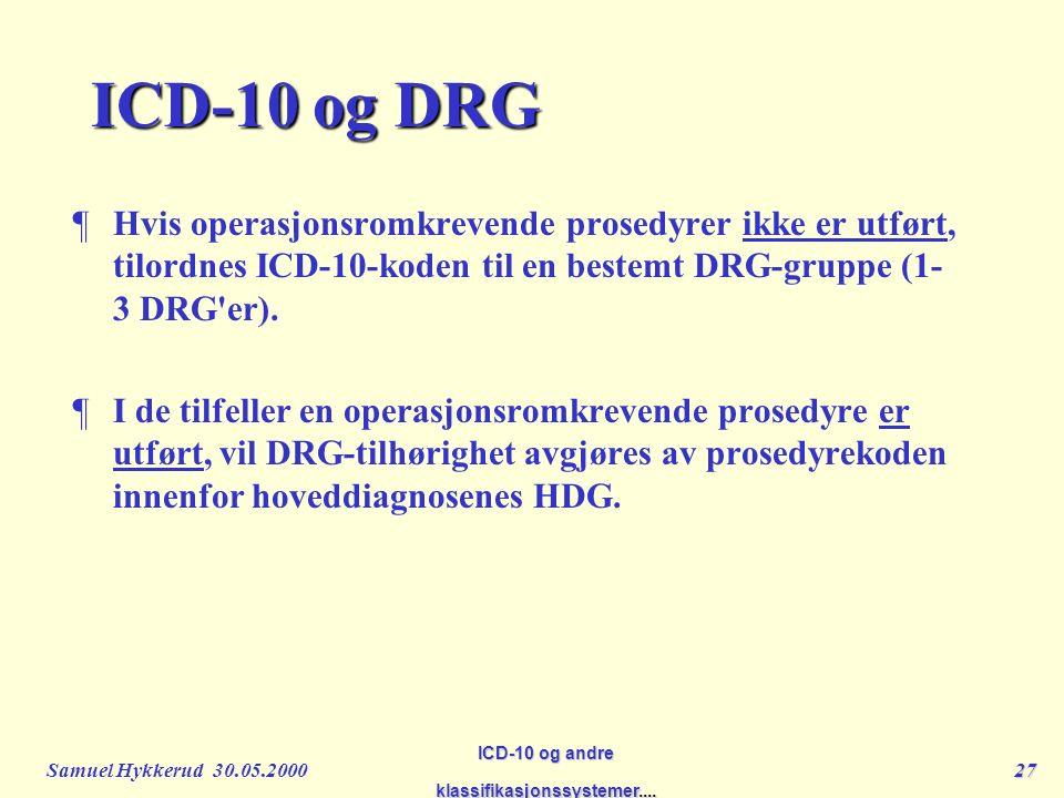 Samuel Hykkerud 30.05.200027 ICD-10 og andre klassifikasjonssystemer....