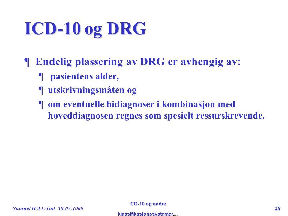 Samuel Hykkerud 30.05.200028 ICD-10 og andre klassifikasjonssystemer....