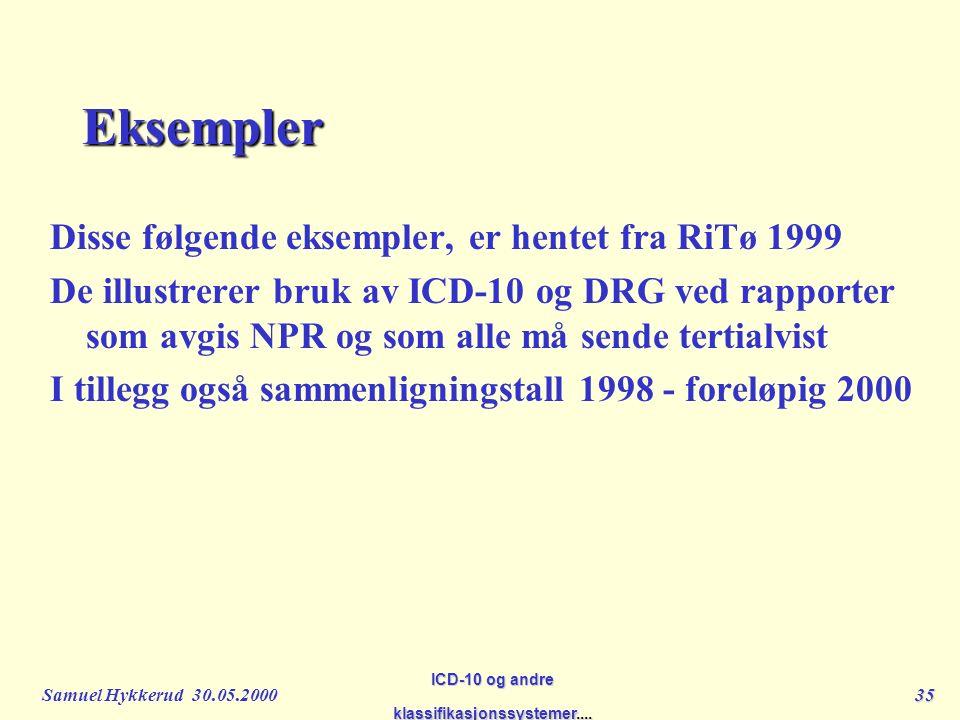 Samuel Hykkerud 30.05.200035 ICD-10 og andre klassifikasjonssystemer....