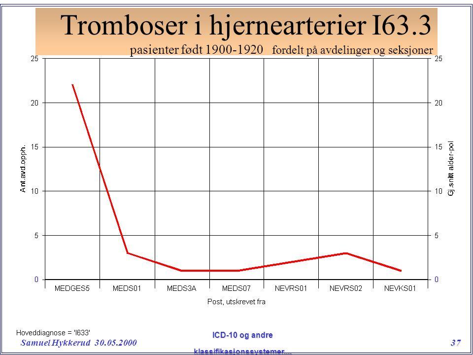 Samuel Hykkerud 30.05.200037 ICD-10 og andre klassifikasjonssystemer....
