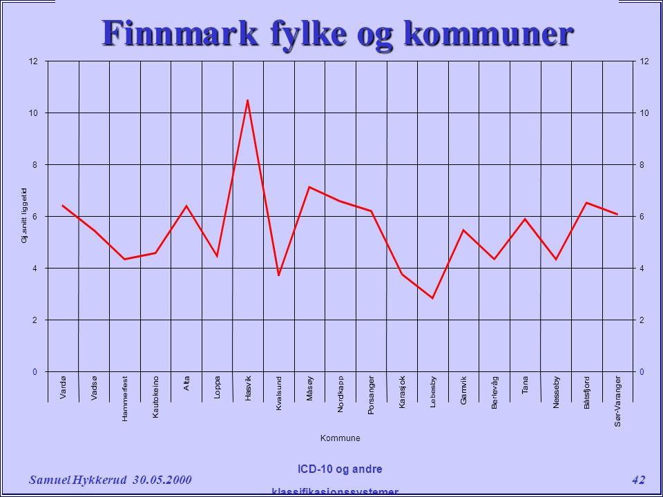 Samuel Hykkerud 30.05.200042 ICD-10 og andre klassifikasjonssystemer....