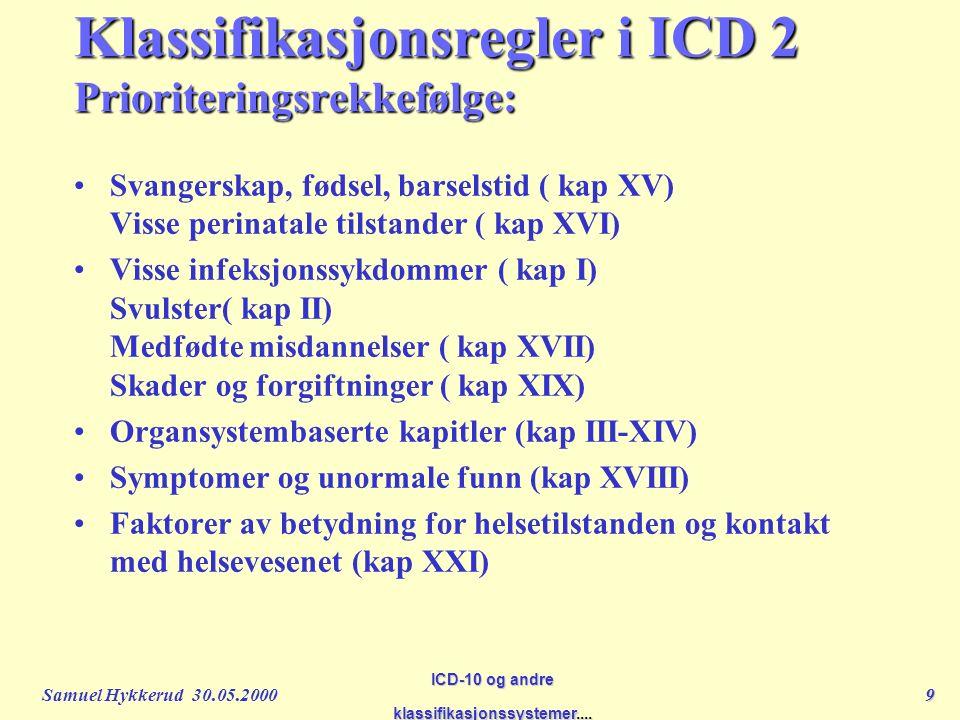 Samuel Hykkerud 30.05.20009 ICD-10 og andre klassifikasjonssystemer....