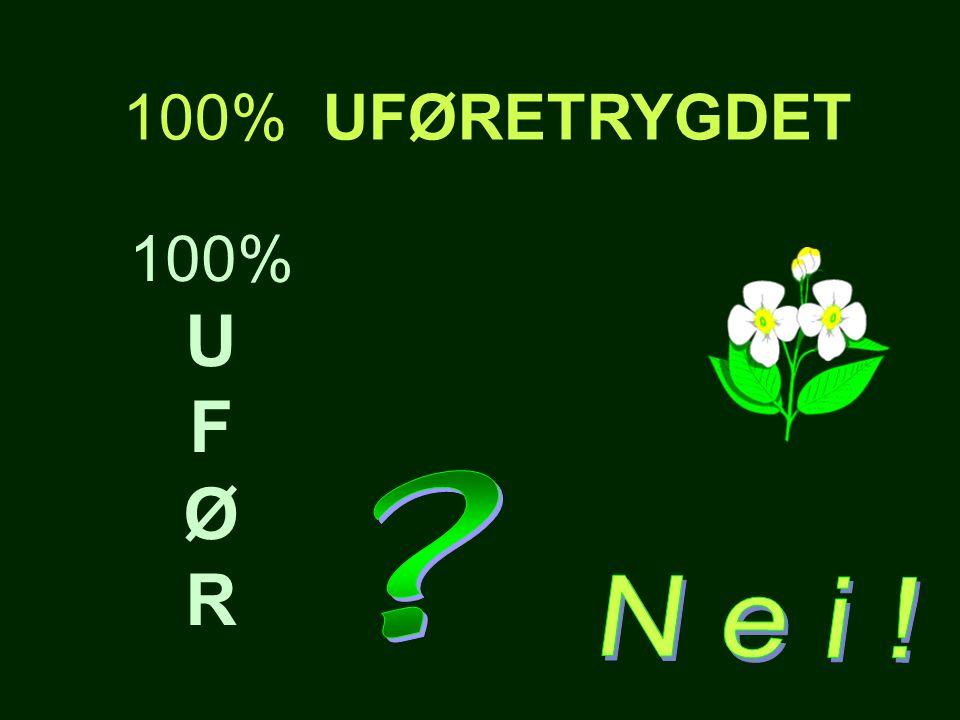 100% UFØRETRYGDET 100% U F Ø R